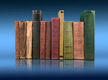 Stack of books on the color gradient background, space for text Royalty Free Stock Photos