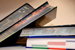 Stack of books. With colored pages royalty free stock photography