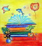 Books with children`s tales. A stack of books with colorful covers. These are books for children. Fairy tales. Heroes of fairy tales came out of books Royalty Free Stock Photos