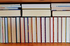Stack of books with colorful covers stock photo