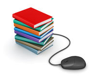 Stack of books with computer mouse Stock Photos