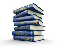 Stack of books on computer security (clipping path included) Stock Photos
