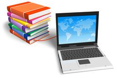 Stack of books connected to laptop. E-learning/online education concept: stack of color books connected to laptop isolated over white background Royalty Free Stock Photography