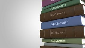 Stack of books on AGRONOMICS, 3D rendering. Stack of books. 3D rendering stock illustration