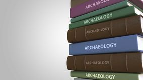 Book cover with ARCHAEOLOGY title, 3D rendering. Stack of books. 3D rendering stock illustration