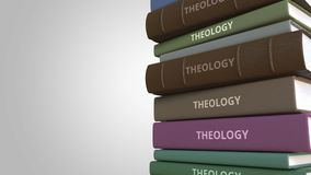 Pile of books on THEOLOGY, loopable 3D animation