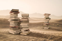 A Stack of Books in the Desert Stock Photos