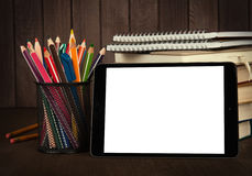 Stack of books, digital tablet and pencils Royalty Free Stock Photography