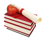 Stack of books and diploma Royalty Free Stock Photos