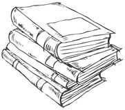 Stack of books doodle Royalty Free Stock Image