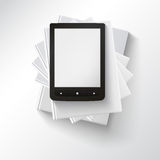 Stack of books with e-book Royalty Free Stock Image