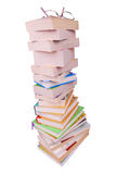Stack of books and eyeglasses Royalty Free Stock Images