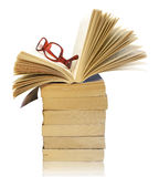 Stack of books with eyeglasses Stock Photos