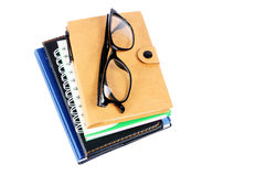 Stack of Books with eyeglasses Stock Image