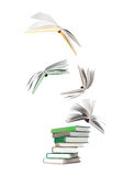 Stack of books and flying books Royalty Free Stock Photo
