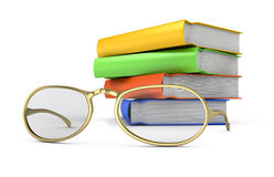 Stack of books and glasses Stock Images