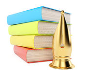 Stack of books and golden quill Stock Photos