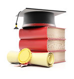 Stack of books with graduation cap and diploma. On white background. 3d render Royalty Free Stock Photos