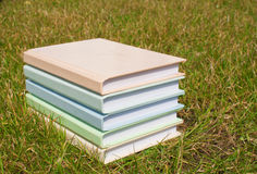 Stack of the books on the grass. Stack of the books laying at the grass Royalty Free Stock Image
