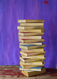 Stack of books on grungy background Royalty Free Stock Photography