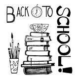Stack of books hand drawn. Vector illustration Stock Images