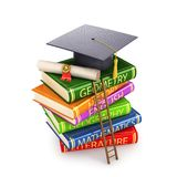 Stack of books that has a diploma and an alumni banner.The concept of a step to science and doctrine. 3d illustration. Stack of books that has a diploma and an Royalty Free Stock Image