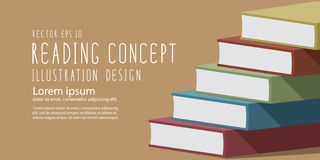 Stack of books heading banner flat vector. Stock Photo