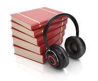 Stack of books and headphones Stock Photos