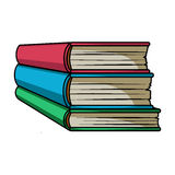 Stack of books icon in cartoon style isolated on white background. Books symbol. Stack of books icon in cartoon design isolated on white background. Books Royalty Free Stock Photo