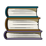 Stack of books icon in cartoon style isolated on white background. Books symbol. Stock Photo
