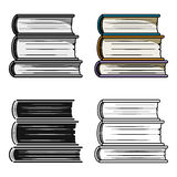 Stack of books icon in cartoon style isolated on white background. Books symbol stock vector illustration. Stock Photo