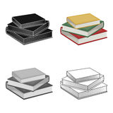 Stack of books icon in cartoon style isolated on white background. Library and bookstore symbol stock vector. Stack of books icon in cartoon design isolated on Royalty Free Stock Photo