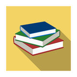 Stack of books icon in flat style  on white background. Library and bookstore symbol stock vector illustration. Stock Images