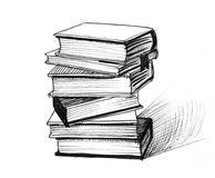 Stack of books. Ink black and white illustrations of a stack of books stock illustration