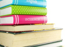 Stack of books isolated closeup on white background Stock Photo