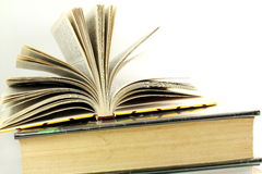 Stack of books isolated closeup on white background Stock Images