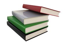 Stack of books isolated on white background. The concept of self-development. 3D Rendering vector illustration