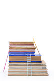 Stack of books with ladders isolated on white Stock Photo