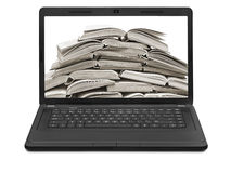 Stack of books on a laptop screen isolated on white background Stock Images