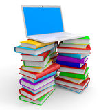 Stack of books and laptop. Stack of books and laptop on white background. 3D illustration Stock Image