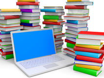 Stack of books and laptop. Stack of books and laptop on white background. 3D illustration Stock Photography