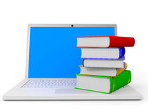 Stack of books and laptop. Stack of books and laptop on white background. 3D illustration Stock Photos