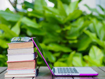 Stack of books with laptop Stock Photo
