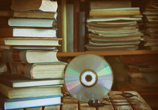 Stack of books, library, cd, headphones Stock Image