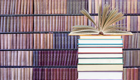 Stack of books in library Royalty Free Stock Photos