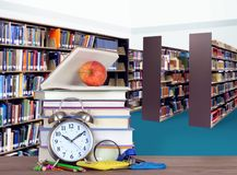 Stack of books in library. For education concept Stock Image