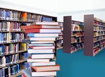 Stack of books in library. For education concept Royalty Free Stock Images