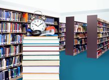 Stack of books in library. For education concept Royalty Free Stock Photo