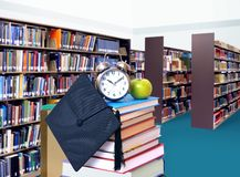 Stack of books in library. For education concept Stock Photo