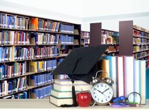 Stack of books in library. For education concept Royalty Free Stock Image